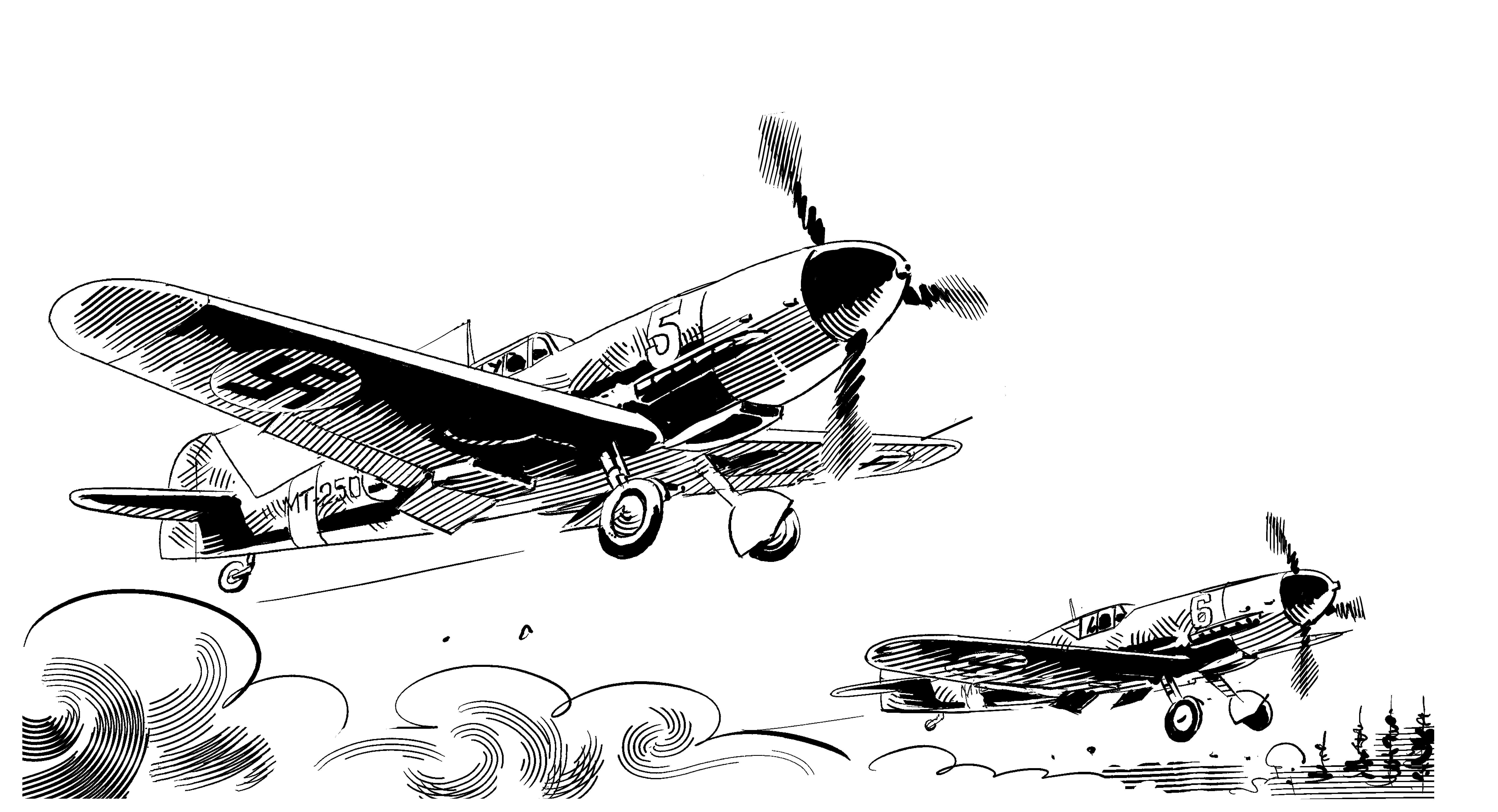 Messersch-lentokone-havittaja-sarjakuva